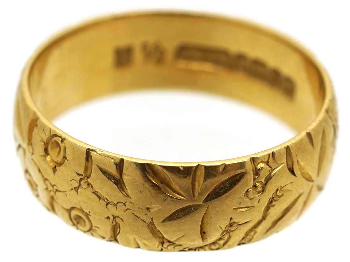 18ct Gold Wedding Band With Roses & Ivy Motif
