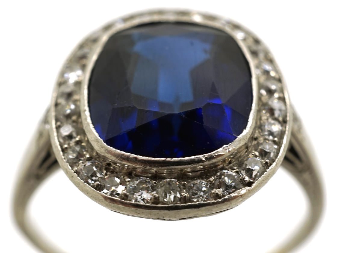 French Art Deco Synthetic Sapphire & Diamond Cluster Ring