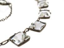 Art Deco Silver & Square Paste Necklace
