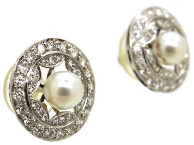 Edwardian Platinum, Pearl & Diamond Cluster Earrings