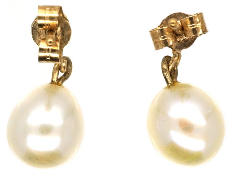 9ct Gold Pearl Drop Earrings