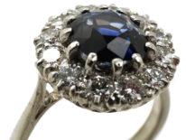 18ct White Gold, Platinum, Sapphire & Diamond Cluster Ring