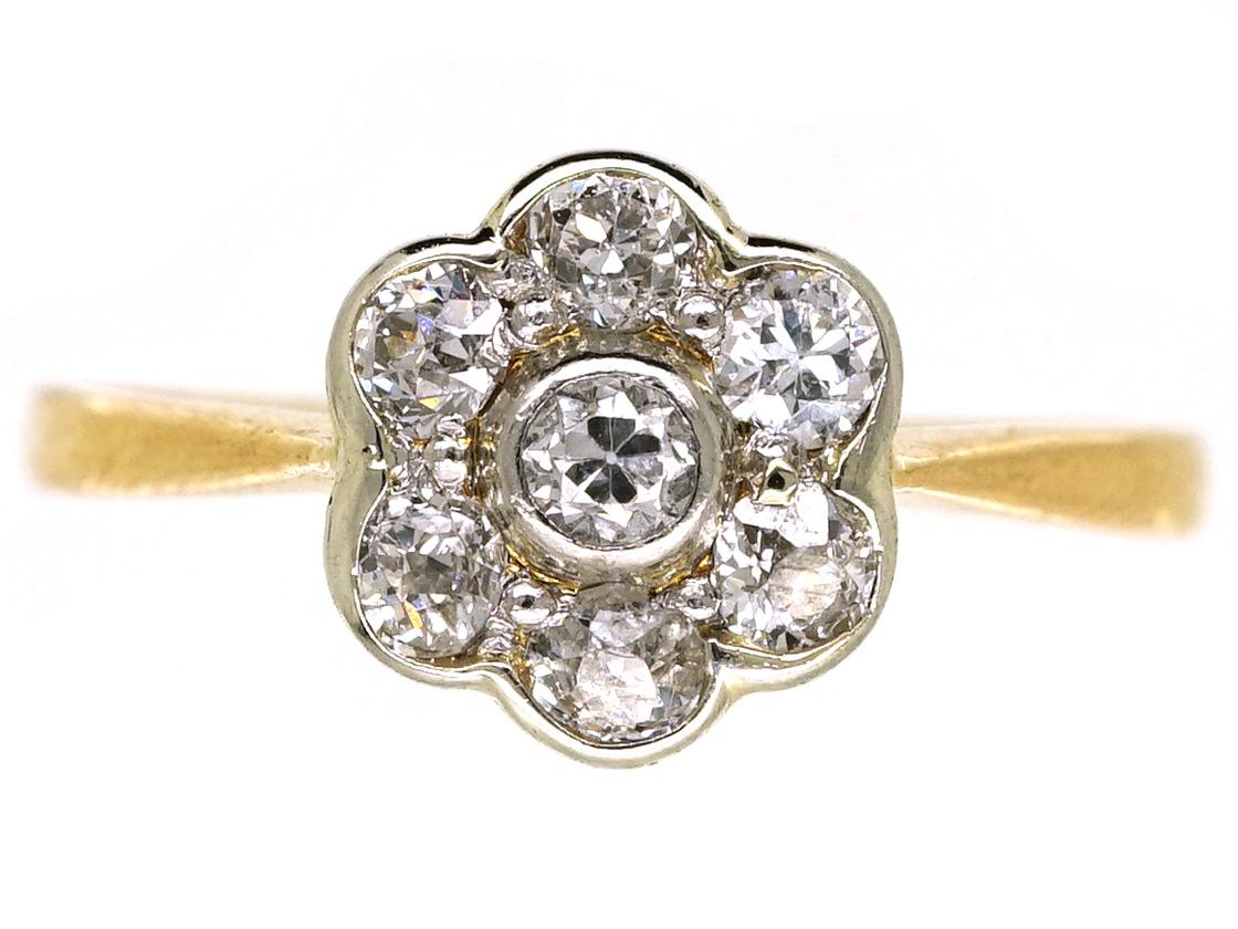Edwardian 18ct Gold, Platinum, Diamond Daisy Cluster Ring