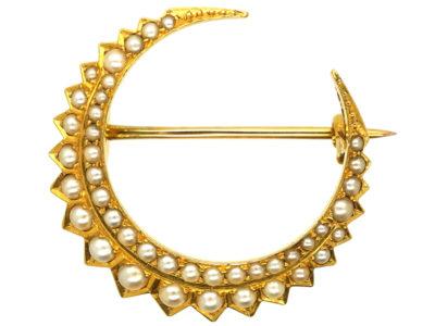 Victorian 15ct Gold & Natural Split Pearl Crescent Brooch in Original Case