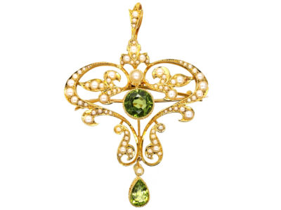 Edwardian 15ct Gold, Peridot & Natural Split Pearl Pendant
