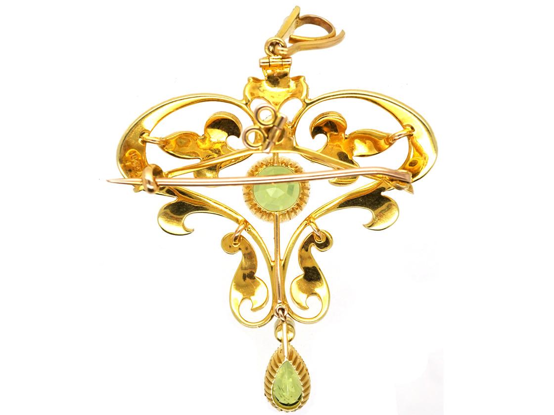 Edwardian 15ct Gold, Peridot & Natural Split Pearl Pendant