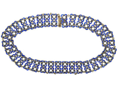 Silver Blue & White Enamel Collar by David Andersen