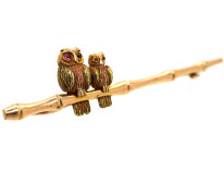 Edwardian Two Colour 15ct Gold Mother & Baby Owl on a Branch Brooch