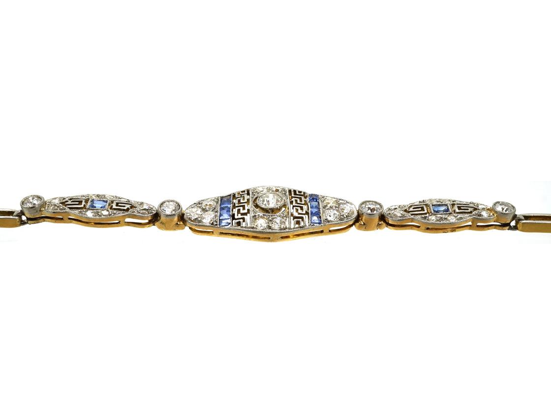 Art Deco 15ct Gold & Platinum, Sapphire & Diamond Bracelet