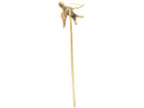 Edwardian 9ct Gold Swallow Tie Pin Set With Natural Split Pearls