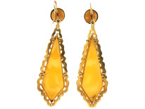 Victorian 18ct Gold Long Drop Cameo Earrings of Guardian Angels