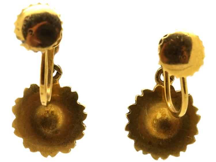 Edwardian 15ct Gold Pearl Flower Cluster Earrings