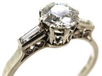 Art Deco Platinum & Diamond Solitaire Ring With Baguette Diamond Shoulders