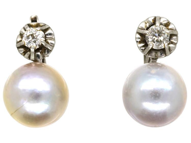18ct White Gold, Pearl & Diamond Earrings