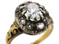Victorian 18ct Gold Oval Diamond Cluster Ring