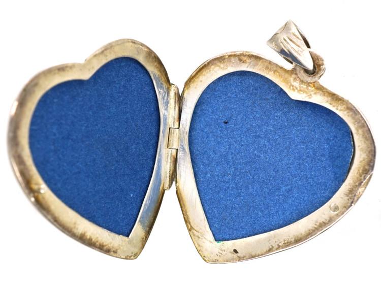 Engraved Silver Heart Shaped Locket