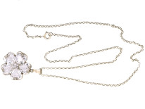 Rock Crystal Pansy Pendant on Silver Chain