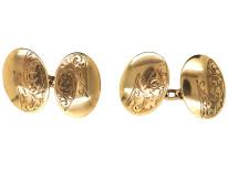 Edwardian 9ct Gold Oval Cufflinks