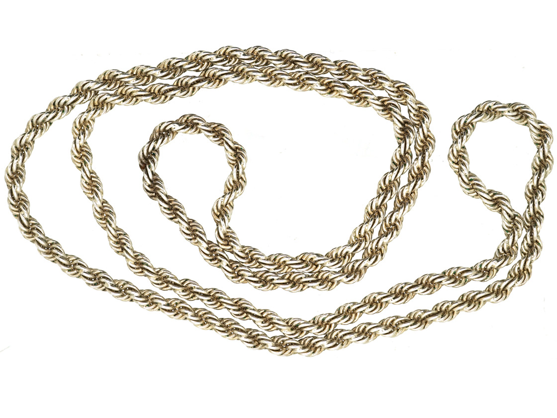 Long Silver Prince of Wales Twist Chain