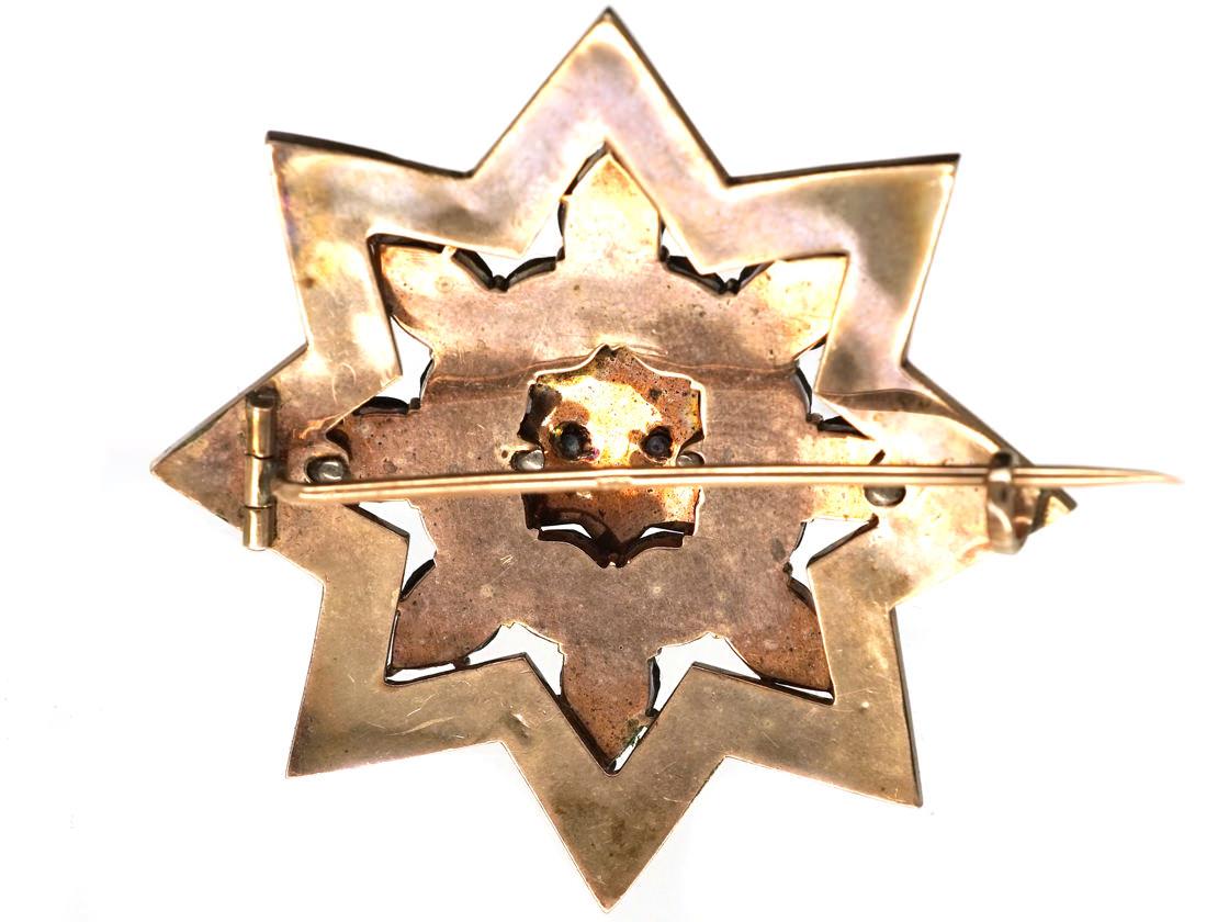 Bohemian Garnet Star Brooch