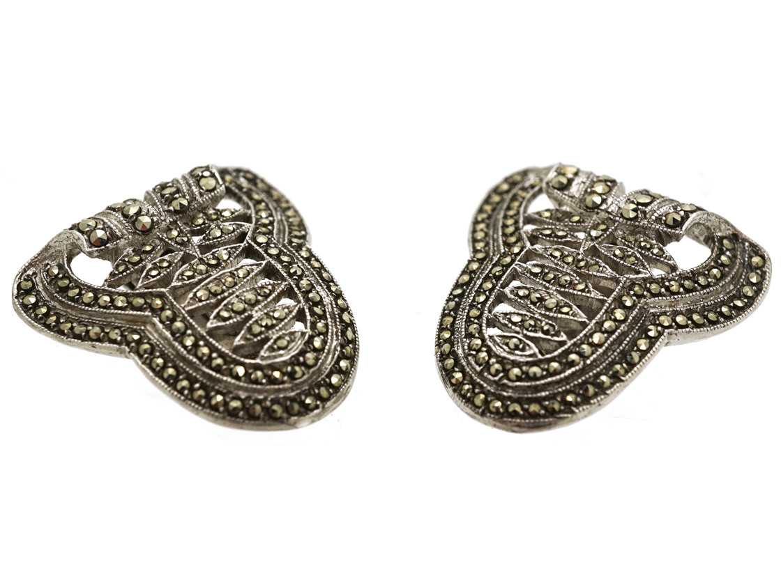 Pair of Silver & Marcasite Art Deco Clips