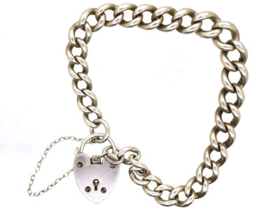 Silver Curb Bracelet With Heart Padlock