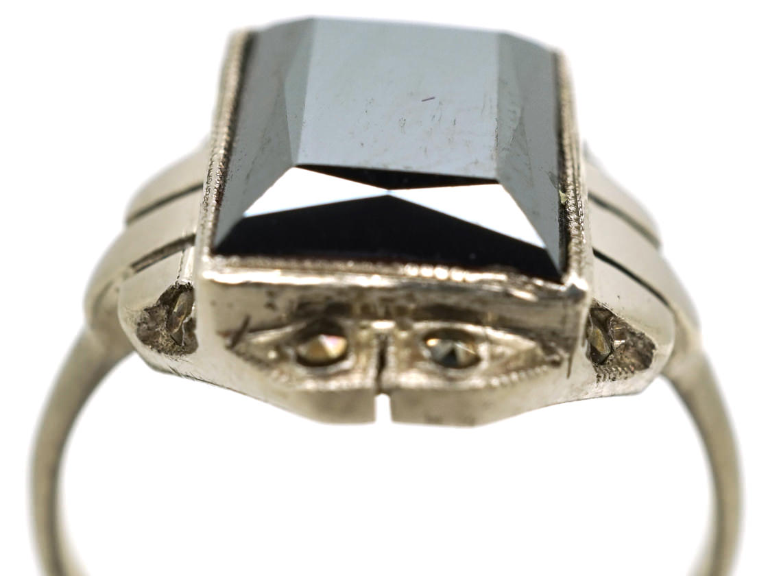 French Art Deco Silver, Haematite & Marcasite Ring
