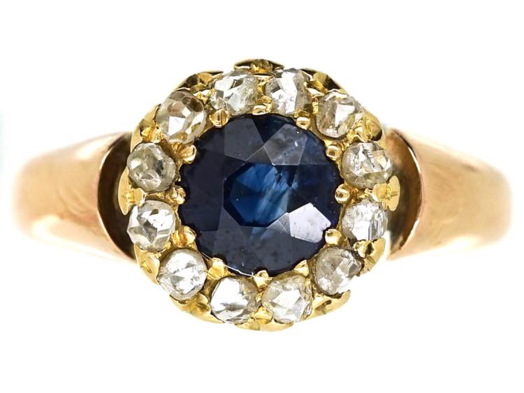 Edwardian 15ct Gold, Sapphire & Rose Diamond Cluster Ring