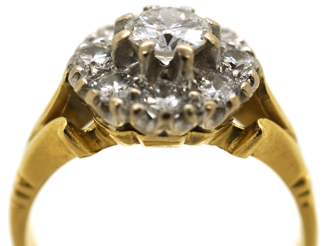 18ct Yellow & White Gold, Diamond Daisy Cluster Ring