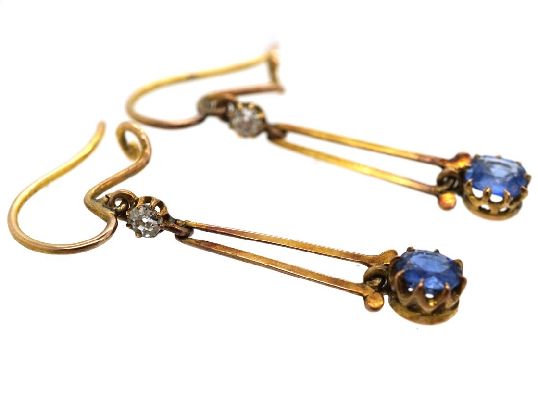 Edwardian 15ct Gold, Sapphire & Diamond Drop Earrings