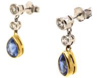 18ct White & Yellow Gold, Sapphire & Diamond Drop Earrings