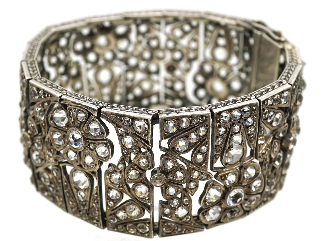 Art Deco Wide Silver & Paste Bracelet