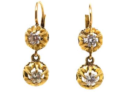 18ct Gold Two Stone Diamond Drop Diamond Earrings
