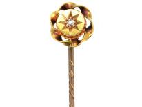 Victorian 15ct Gold &Diamond Round Tie Pin