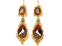 Regency 18ct Gold Micro Mosaic Earrings of Birds & Butterflies