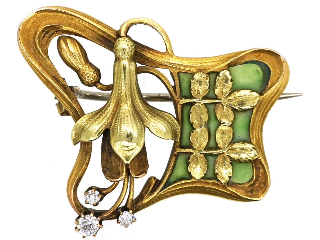 French 18ct Two Colour Gold Art Nouveau Plique-à-Jour & Diamond Fuchsia Brooch
