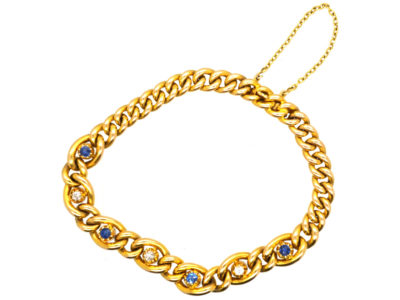 Edwardian 15ct Gold Bracelet Set With Sapphires & Diamonds