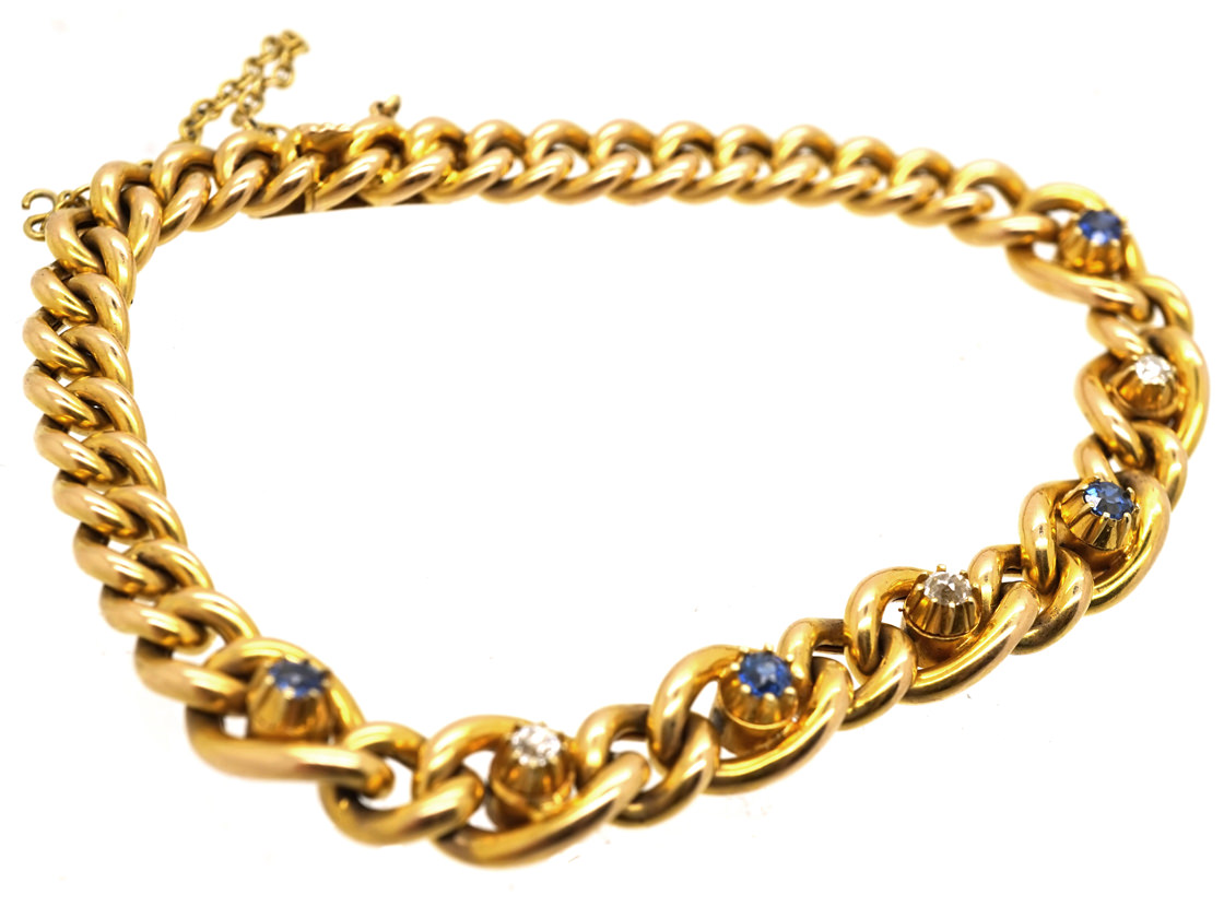 Edwardian 15ct Gold Bracelet Set With Sapphires & Diamonds