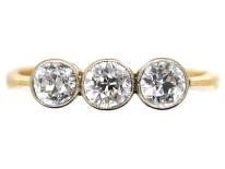 Art Deco 18ct Gold & Platinum Three Stone Diamond Ring