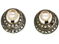 Art Deco Silver, Marcasite & Pearl Clip On Earrings