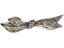 Art Deco Silver & Marcasite Bow Brooch
