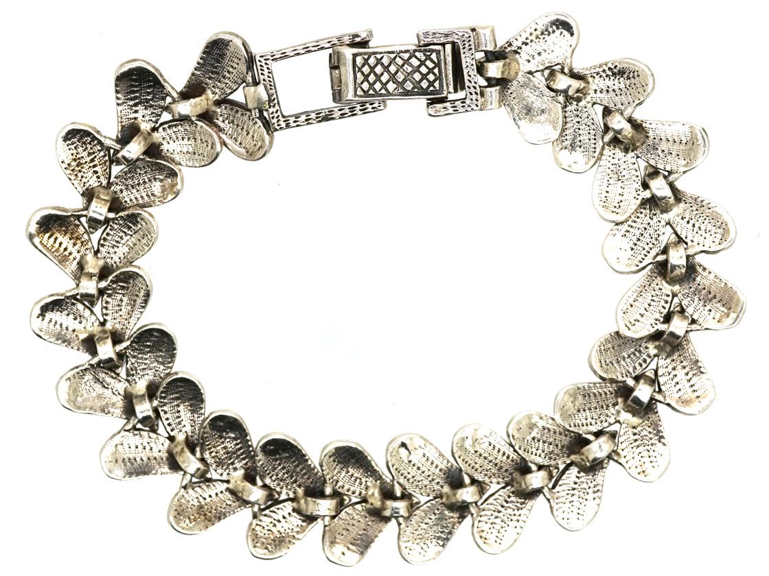Silver & Marcasite Leaf Bracelet