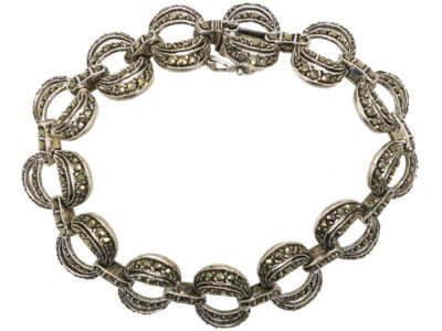 Art Deco Silver & Marcasite Interlinking Rings Bracelet