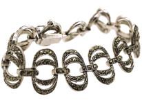 Art Deco Silver & Marcasite Interlinking Rings Bracelet