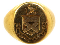 Victorian 18ct Gold Signet Ring With Crest Intaglio