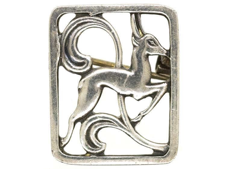 Art Deco Silver Leaping Hind Brooch by Hugo Grün