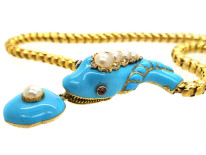 Victorian 18ct Gold, Turquoise Enamel, Natural Split Pearl, Ruby & Rose Diamond Snake Necklace