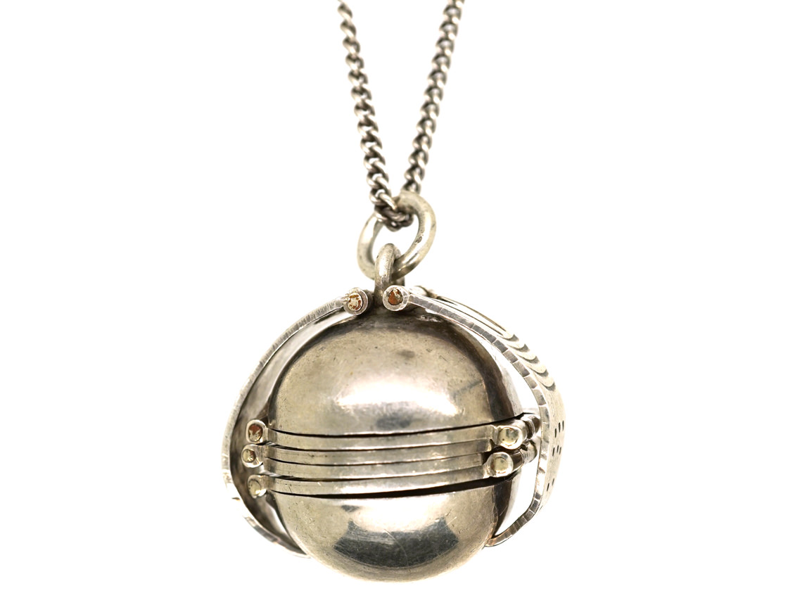 Silver Globe Shaped Four Compartment Locket on Silver Chain