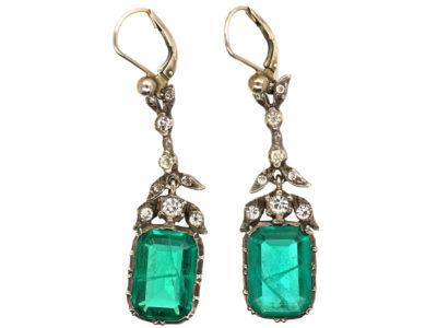 Art Deco Silver & Emerald Paste Drop Earrings