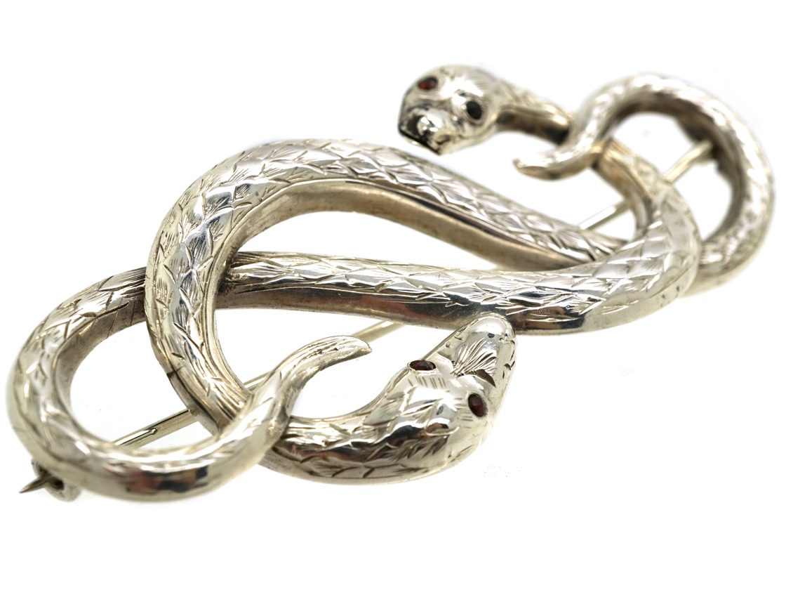 Victorian Silver Entwined Snakes Brooch